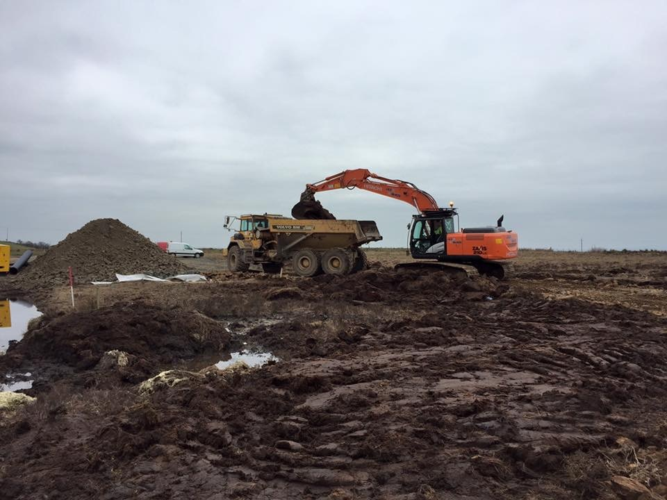 Excavating for turbine bases 3
